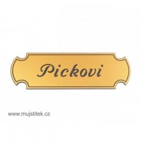Zlatá plastová jmenovka na dveře a poštovní schránku