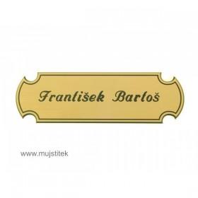 Zlatá malá plastová jmenovka na dveře a poštovní schránku a gravírování jména na počkání Praha