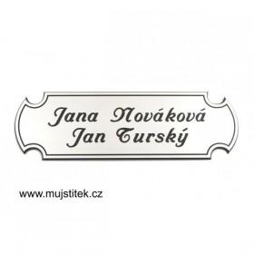 Stříbrná jmenovka na dveře s laserováním jména a přijmení na přání