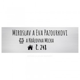 Stříbrný štítek se jménem na dveře od bytu 12 x 4 cm s gravírováním Vašeho online návrhu na webu www.mujstitek.cz