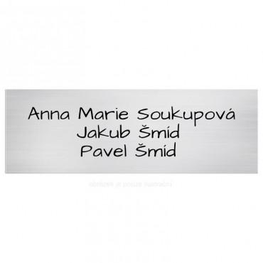 Stříbrný štítek se jménem na vchodové dveře o velikosti 12 x 4 cm s gravírováním Vašeho online návrhu na webu www.mujstitek.cz