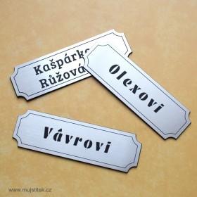 Stříbrné jmenovky na vchodové dveře s rytím dle vlastního návrhu